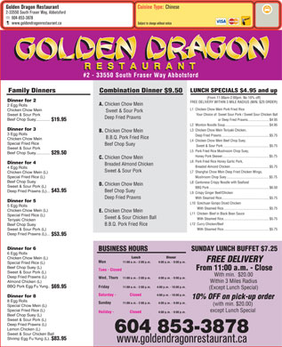 Golden Dragon Restaurant (604-853-3878) - Menu