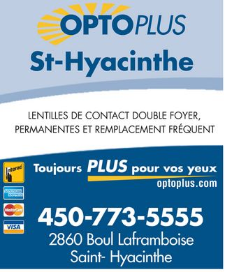 Clinique Optométrique Opto Plus De St-Hyacinthe (450-773-5555) - Display Ad
