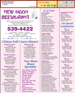 New Moon Restaurant (902-539-4422) - Menu