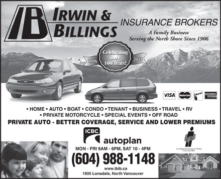 Irwin & Billings Insurance (604-988-1148) - Annonce illustrée
