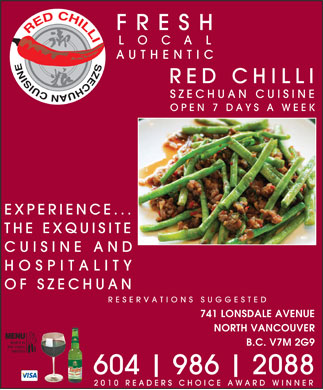 Red Chilli Szechuan Restaurant Ltd (604-990-2809) - Annonce illustrée
