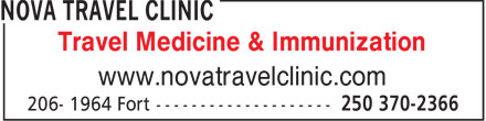 Nova Travel Clinic (250-370-2366) - Annonce illustrée - Travel Medicine & Immunization www.novatravelclinic.com