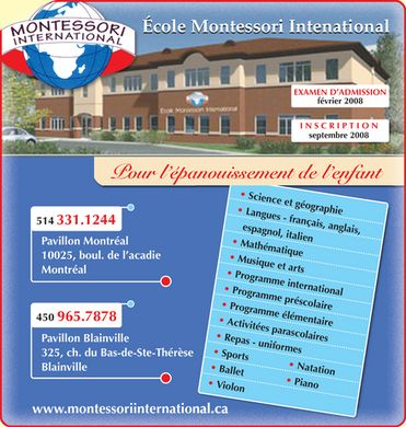 Ecole Montessori International (514-331-1244) - Display Ad