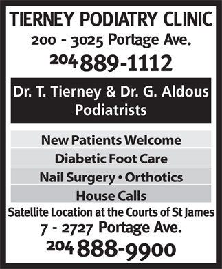 Tierney Podiatry Clinic (204-889-1112) - Annonce illustrée