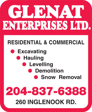 Glenat Enterprises Ltd (204-837-6388) - Annonce illustrée