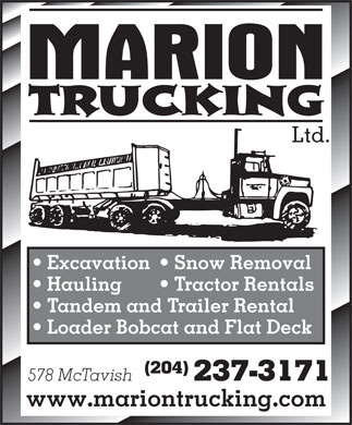 Marion Trucking Ltd (204-237-3171) - Display Ad