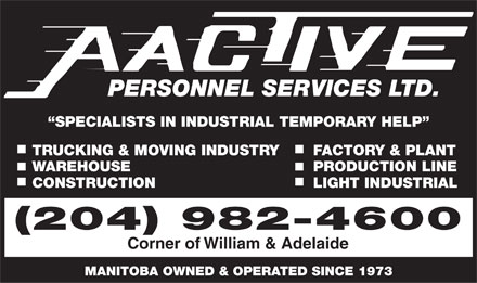 Aactive Personnel Services (204-982-4600) - Display Ad