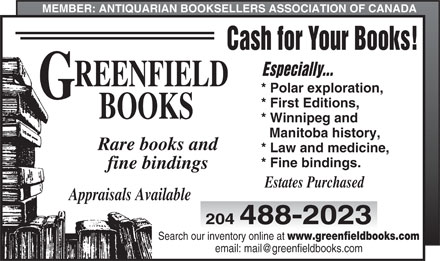 Greenfield Books (204-488-2023) - Display Ad