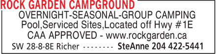 Rock Garden Campground (204-422-5441) - Display Ad - OVERNIGHT-SEASONAL-GROUP CAMPING Pool,Serviced Sites,Located off Hwy #1E CAA APPROVED - www.rockgarden.ca
