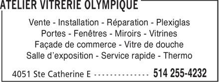Atelier vitrerie olympique 4051 rue sainte catherine e for O miroir montreal qc