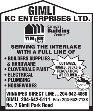 K C Enterprises Ltd (204-942-4860) - Annonce illustrée