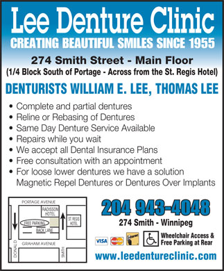 Lee Denture Clinic (204-943-4048) - Display Ad