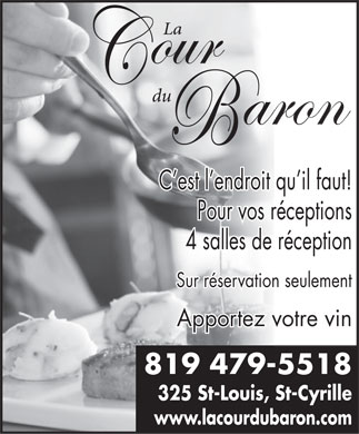La Cour du Baron Inc (819-479-5518) - Display Ad