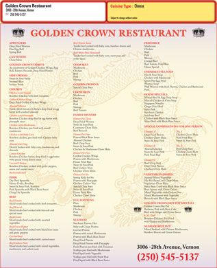 Golden Crown (250-541-1178) - Menu