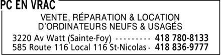 PC en Vrac (418-780-8133) - Display Ad - VENTE, RÉPARATION & LOCATION D¿ORDINATEURS NEUFS & USAGÉS
