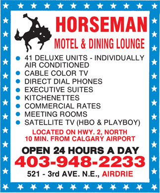 Horseman Motel & Dining Lounge (403-948-2233) - Display Ad