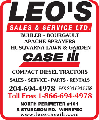 Leo's Sales &amp; Service Ltd (204-694-4978) - Annonce illustr&eacute;e