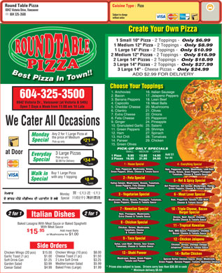 Round Table Pizza (604-325-3500) - Menu