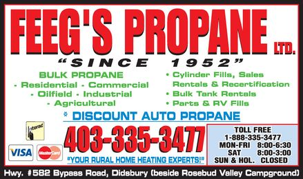 Feeg's Propane Ltd (403-335-3477) - Display Ad