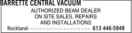 Barrette Central Vacuum (613-446-5949) - Annonce illustrée======= - BARRETTE CENTRAL VACUUM - REPAIRS - INSTALLATOINS - BEAM DEALER