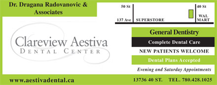 Clareview Aestiva Dental Center (780-428-1025) - Annonce illustrée