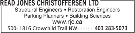 Read Jones Christoffersen Ltd (403-283-5073) - Annonce illustrée - Structural Engineers   Restoration Engineers Parking Planners   Building Sciences www.rjc.ca Structural Engineers   Restoration Engineers Parking Planners   Building Sciences www.rjc.ca