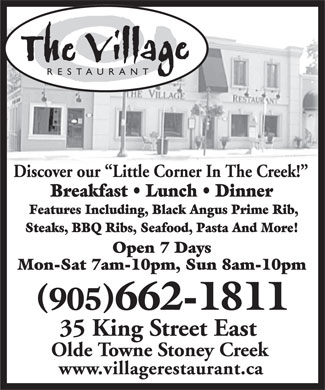 Village Restaurant The (905-662-1811) - Display Ad - RESTAURANT