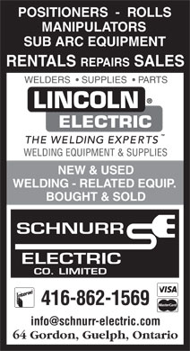Schnurr Electric Co Ltd (416-862-1569) - Annonce illustrée