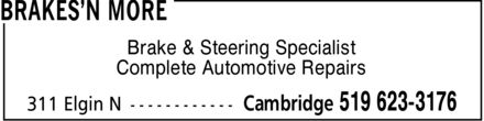 Brakes'n More (519-623-3176) - Annonce illustrée - Brake & Steering Specialist Complete Automotive Repairs