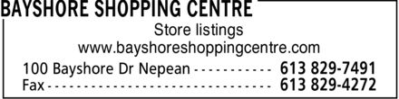 Bayshore Shopping Centre (613-829-7491) - Display Ad -