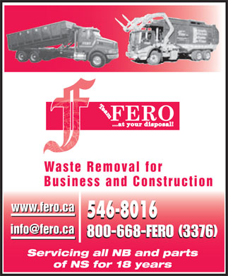 Fero Waste & Recycling Inc (506-546-8016) - Display Ad