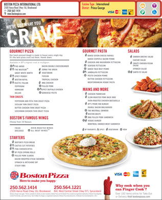 Boston Pizza (250-564-1221) - Annonce illustrée