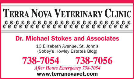 The Terra Nova Veterinary Clinic (709-738-7054) - Annonce illustrée