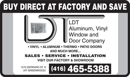 L D T Aluminum Window &amp; Door Co (416-465-5388) - Annonce illustr&eacute;e