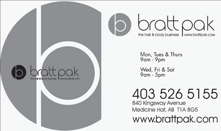 Bratt Pak The Hair & Body Business (403-526-5155) - Display Ad