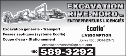 Excavation Rive-Nord Inc (450-589-3292) - Display Ad