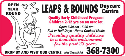 Leaps & Bounds Day Care Centre Ltd (709-368-7300) - Display Ad