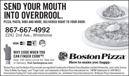 Boston Pizza (867-667-4992) - Annonce illustrée