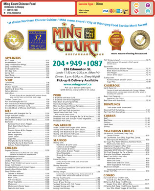 Ming Court Chinese Food (204-949-1087) - Menu