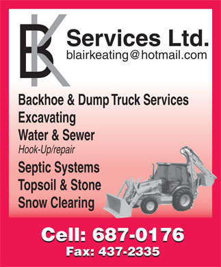 B K Services Limited (709-702-1075) - Display Ad