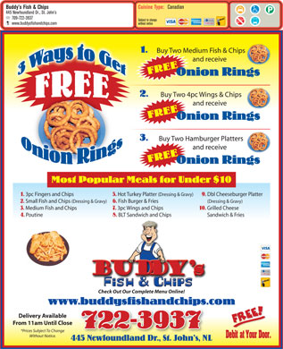 Buddy's Fish & Chips Ltd (709-722-3937) - Menu
