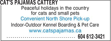 Cat's Pajamas Cattery (604-612-3421) - Annonce illustr&eacute;e