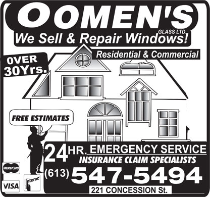 Oomen's Glass Ltd (613-547-5494) - Display Ad