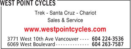 West Point Cycles (604-224-3536) - Display Ad - Trek - Santa Cruz - Chariot - Sales & Service - www.westpointcycles.com