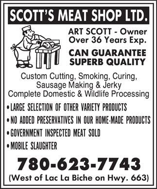 Scott's Meat Shop Ltd (780-623-7743) - Display Ad - 780-623-7743
