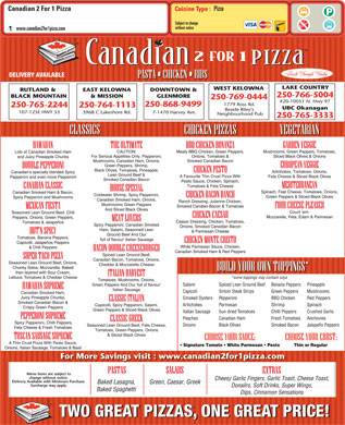 Canadian 2 For 1 Pizza (250-868-9499) - Menu