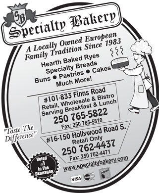 Specialty Bakery & Bistro (250-765-5822) - Display Ad