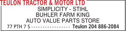 Teulon Tractor & Motor Ltd (204-886-2084) - Annonce illustrée======= - SIMPLICITY - STIHL BUHLER FARM KING AUTO VALUE PARTS STORE