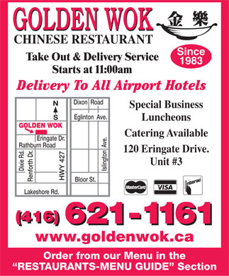 Golden Wok Restaurant (416-621-1161) - Display Ad
