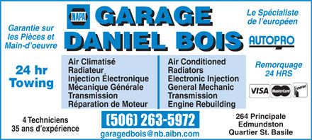 Garage Daniel Bois Autopro (1-888-282-0109) - Annonce illustr&eacute;e